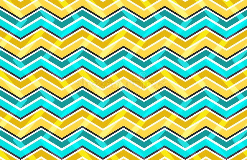 Картина желтого и голубого зигзага безшовная иллюстрация вектора