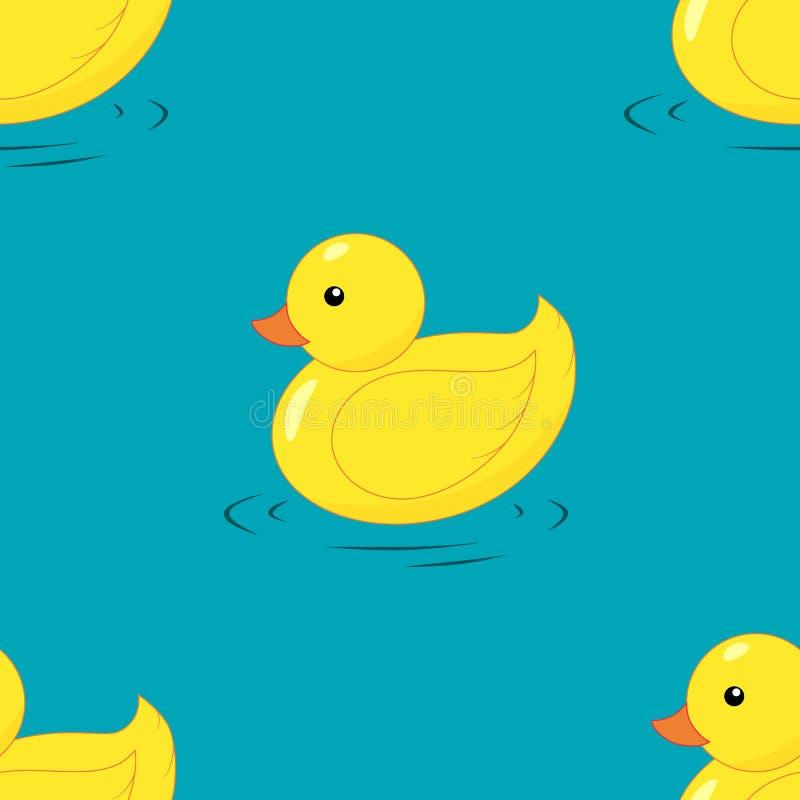 Картина желтой резиновой утки безшовная иллюстрация штока