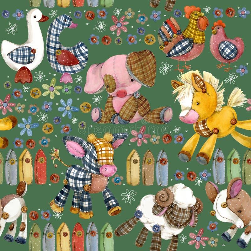 Картина животноводческих ферм шаржа безшовная иллюстрация штока