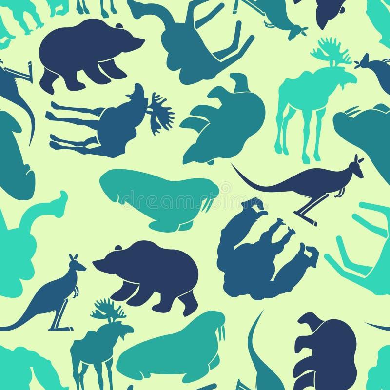 Картина животных безшовная Предпосылка зоопарка Текстура диких животных бесплатная иллюстрация