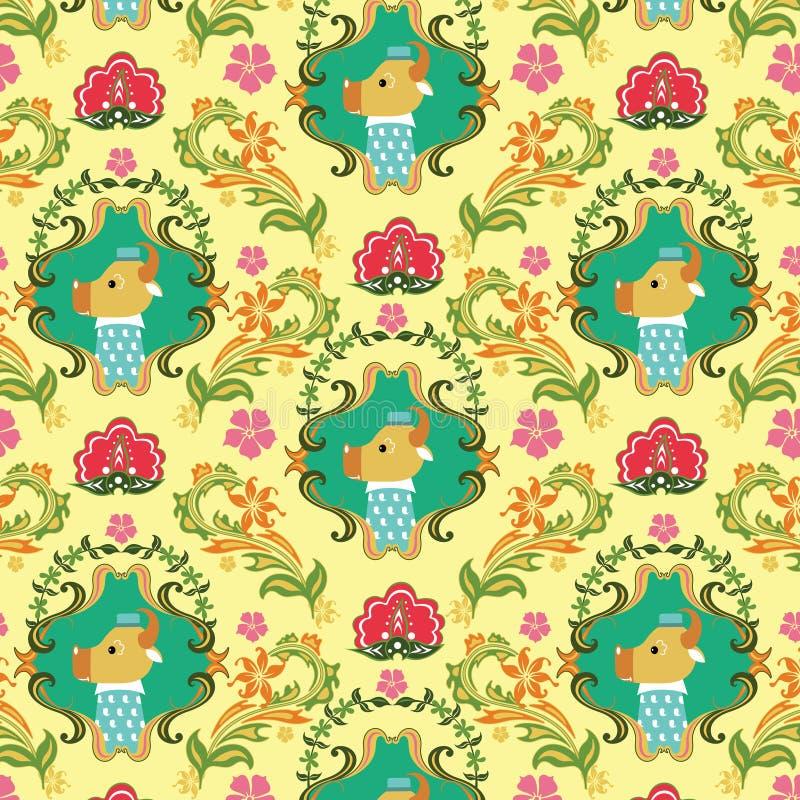 картина животных d флористическая безшовная иллюстрация вектора