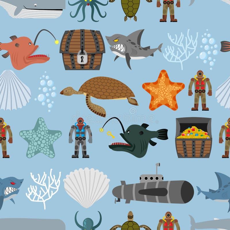 Картина жизни океана безшовная Акула и акватическая черепаха, подводная лодка иллюстрация вектора