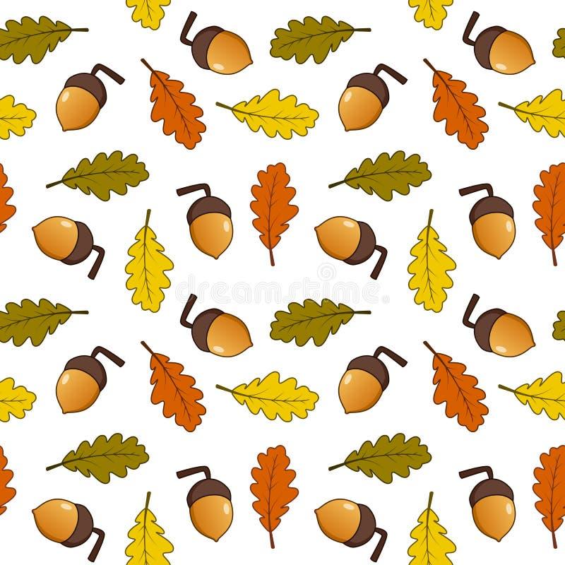 Картина жолудей листьев осени безшовная иллюстрация вектора