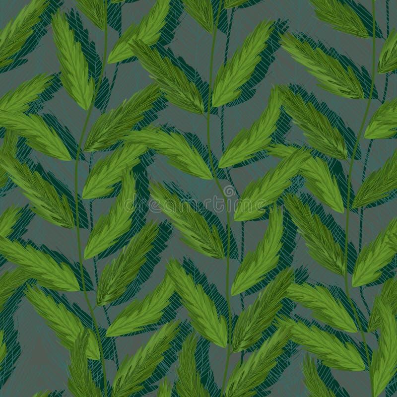 Картина завода вертикальная зеленая безшовная иллюстрация штока