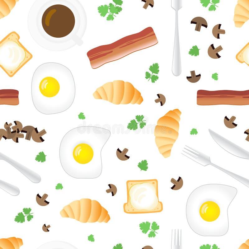 Картина завтрака безшовная в плоском стиле шаржа иллюстрация штока