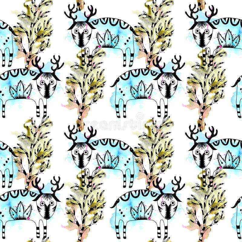 Картина загадочного леса безшовная милых оленей и деревьев, линия искусство и акварель закрывают и брызгают бесплатная иллюстрация