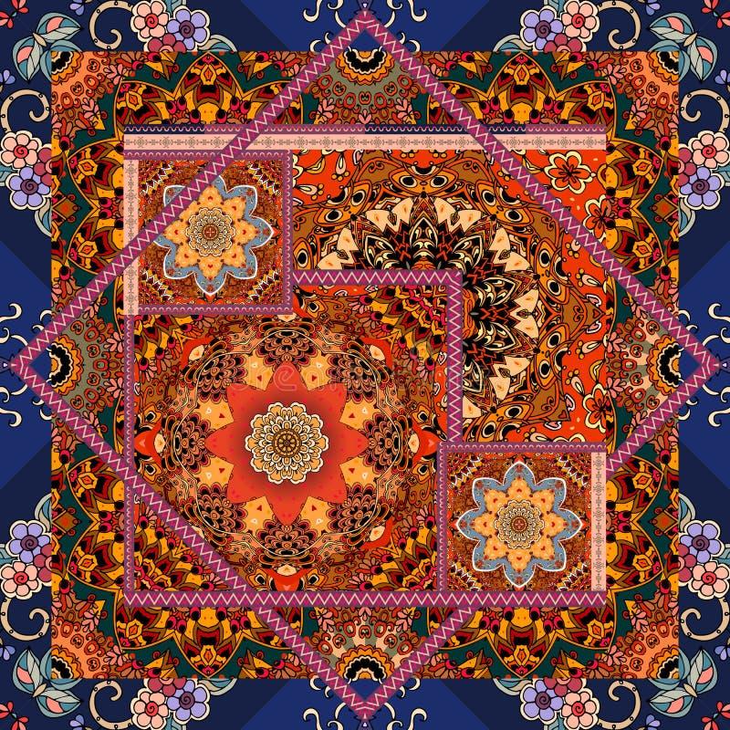 Картина заплатки в этническом стиле Печать Bandana с мандалой цветка и орнаментальной рамкой, уникально ковром, pillowcase иллюстрация вектора