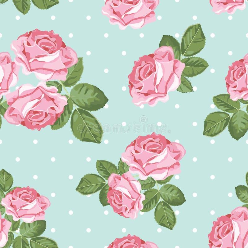 Картина затрапезной розы шика безшовная на предпосылке точки польки бесплатная иллюстрация