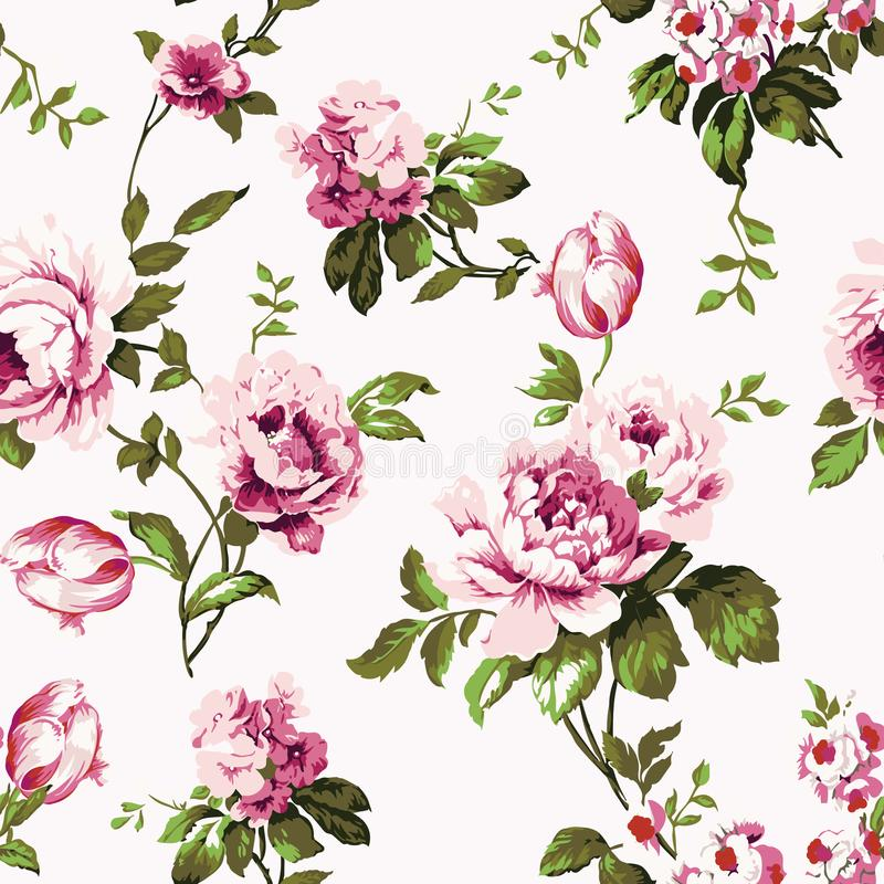 Картина затрапезных шикарных винтажных роз безшовная иллюстрация вектора