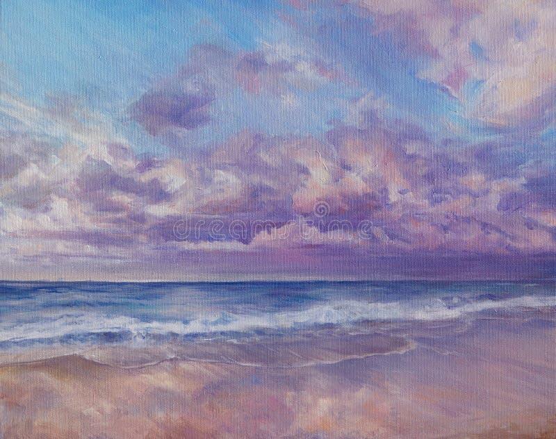Картина захода солнца моря иллюстрация вектора