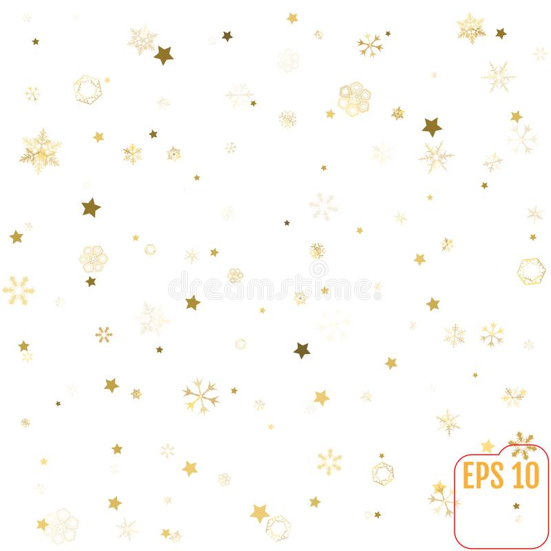 Картина звезды и снежинки белизна, предпосылка, золото, обруч подарка иллюстрация вектора