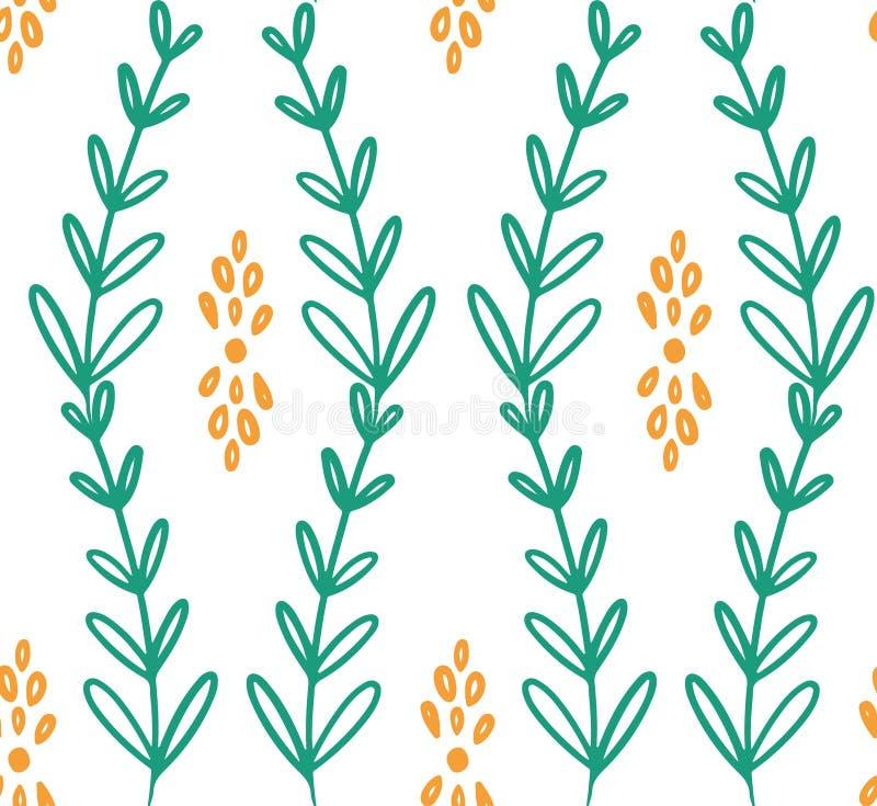 Картина зеленого желтого цветка лозы безшовная иллюстрация штока