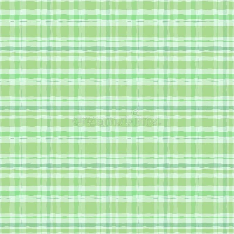 Картина зеленого ирландского стиля акварели шотландки безшовная иллюстрация штока