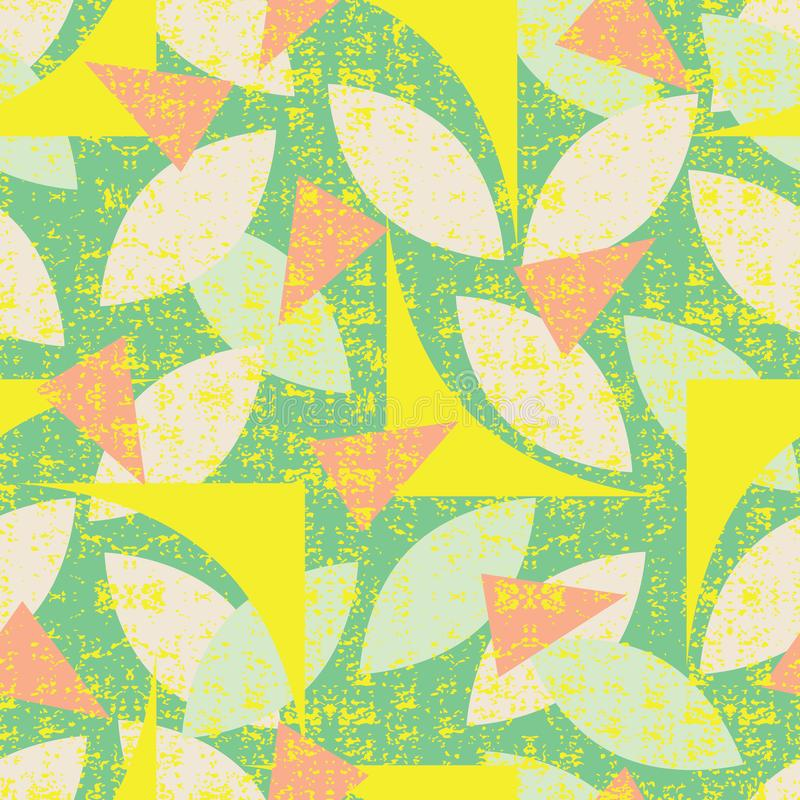 Картина зеленого цвета вектора безшовная красочных абстрактных геометрических форм с текстурой grunge Соответствующий для ткани,  иллюстрация штока