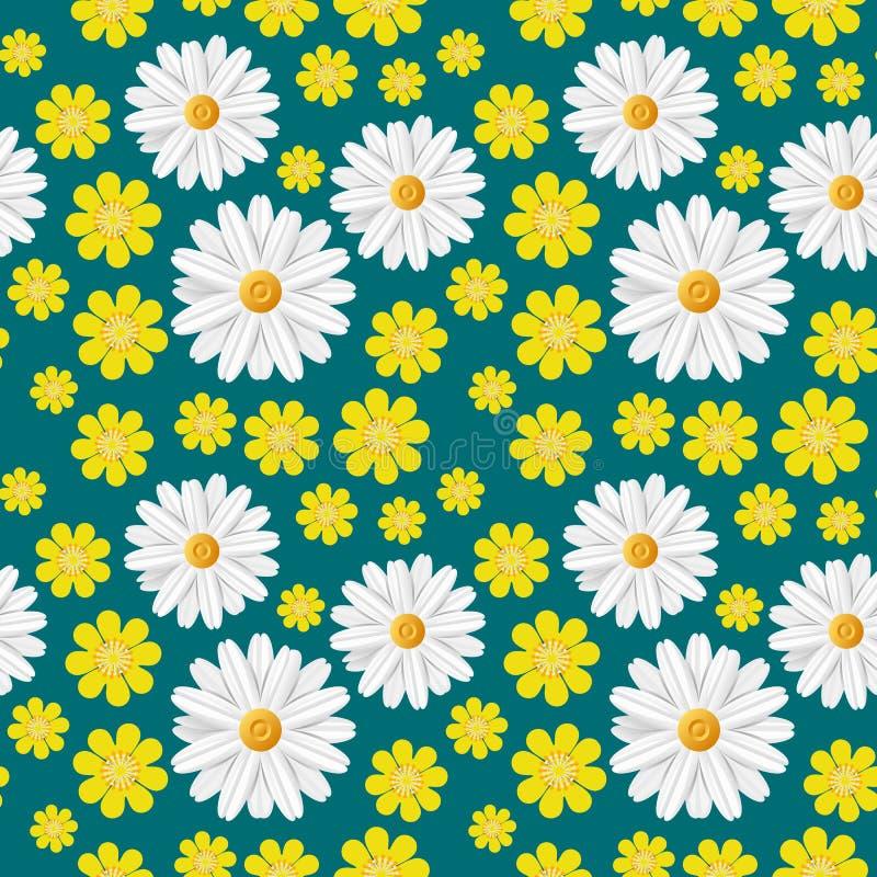 Картина зеленой весны безшовная с светлыми цветками: белый стоцвет и желтый лютик изолированные на синей предпосылке стоковое изображение rf