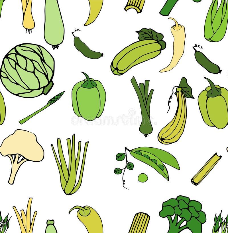 Картина зеленых овощей безшовная Яркая иллюстрация шаржа иллюстрация вектора