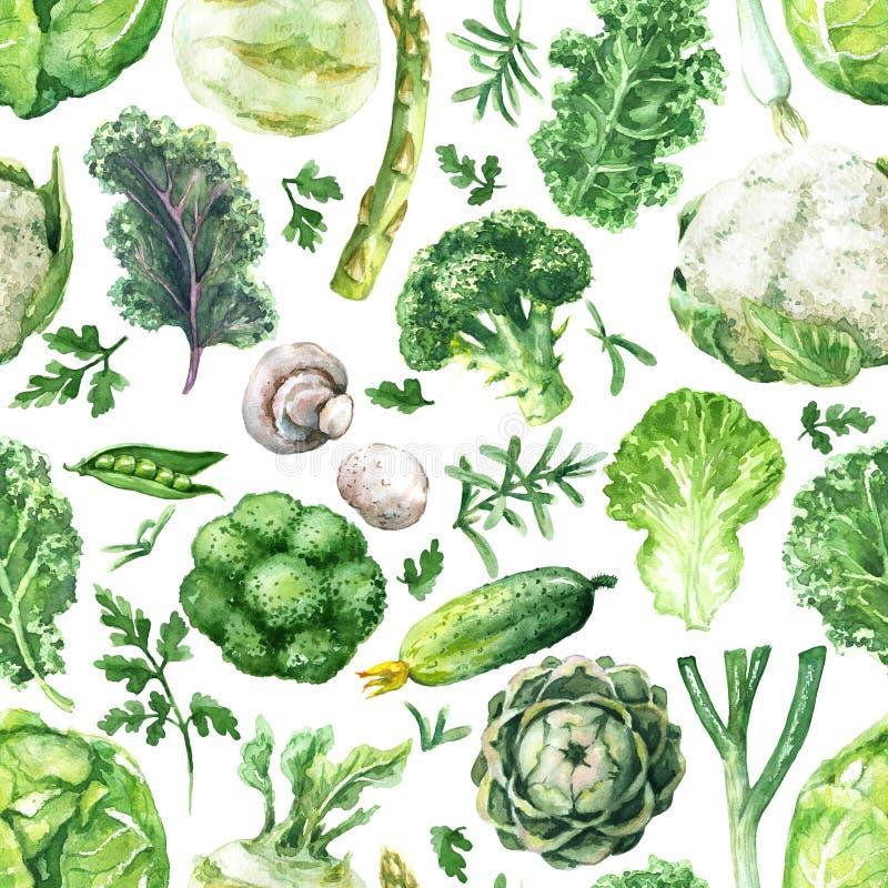Картина зеленых овощей безшовная иллюстрация вектора