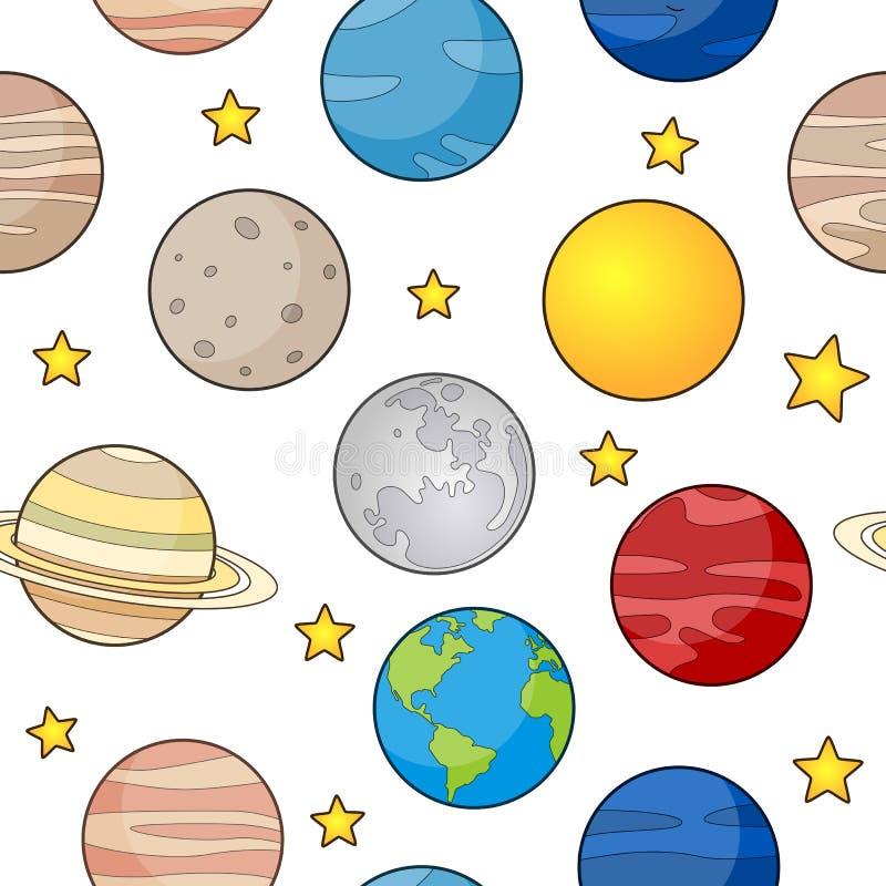 Картина земли и планет безшовная иллюстрация вектора