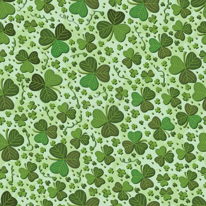 Картина зеленого цвета лист St. Patrick безшовная иллюстрация штока