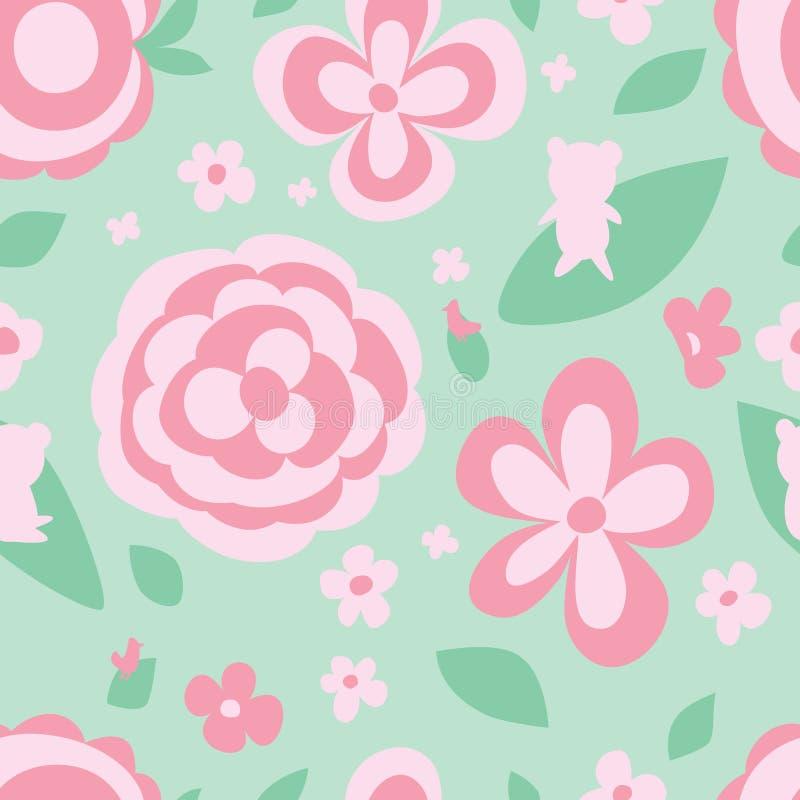 Картина зеленого цвета пастельного цвета цветка безшовная иллюстрация вектора