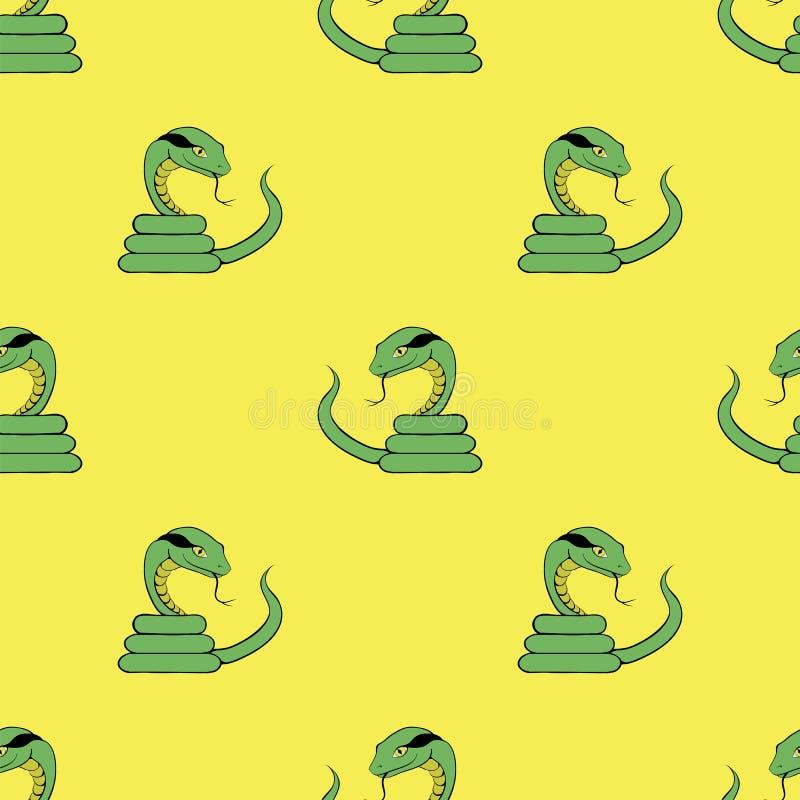 Картина зеленой змейки безшовная иллюстрация вектора