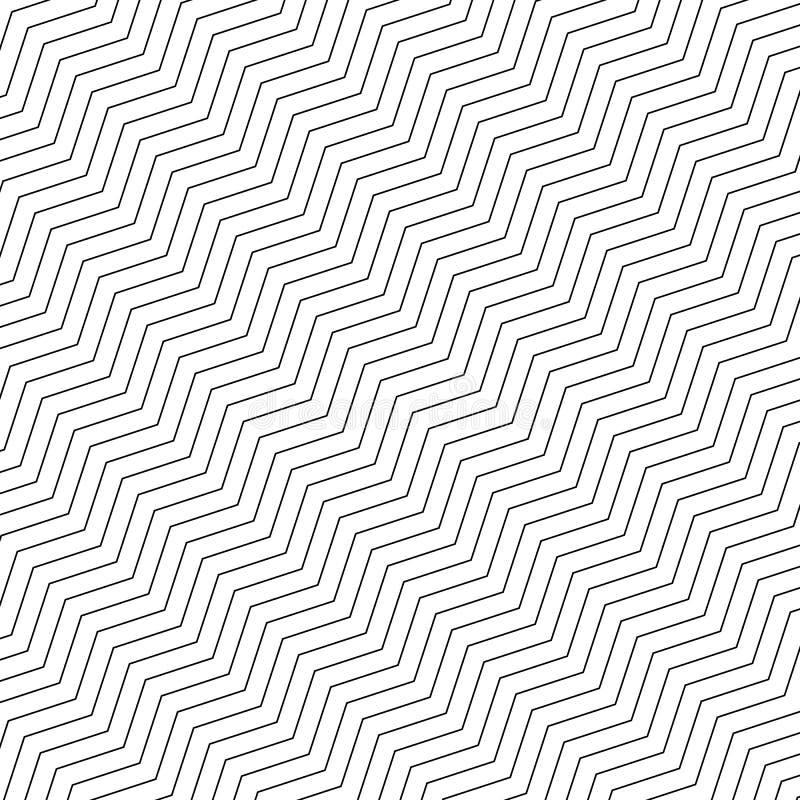 Картина зигзага геометрическая безшовная Линии простого черно-белого зигзага раскосные на белой предпосылке r бесплатная иллюстрация