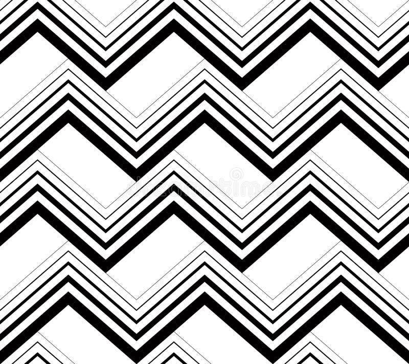 Картина зигзага черно-белая геометрическая безшовная, backg вектора иллюстрация вектора
