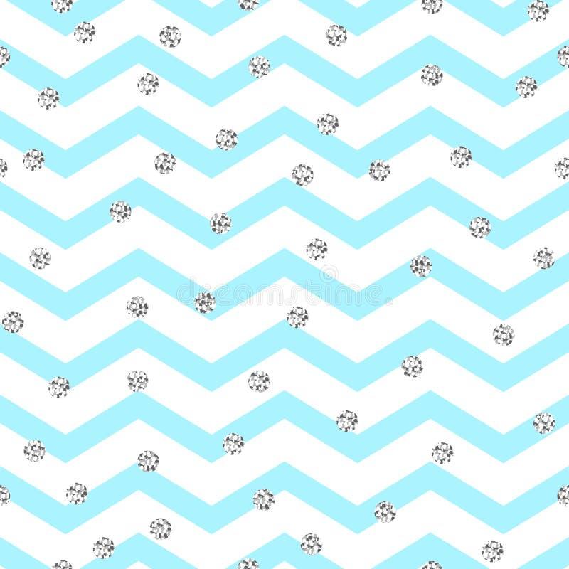 Картина зигзага Шеврона голубая и белая безшовная бесплатная иллюстрация