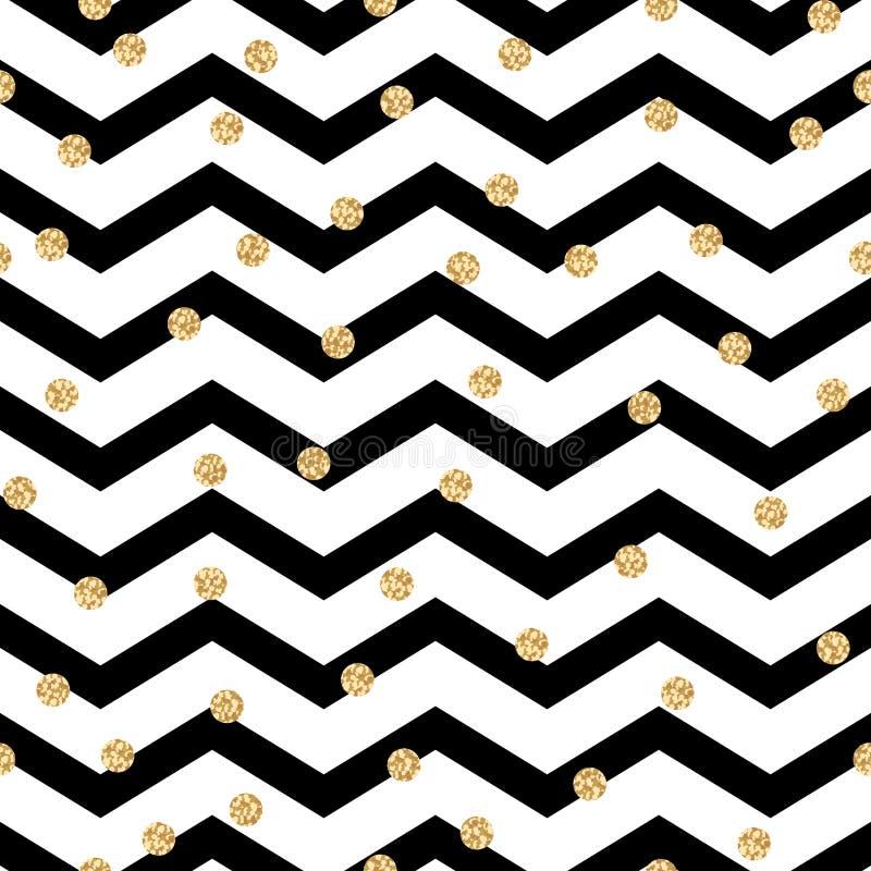 Картина зигзага Шеврона черно-белая безшовная иллюстрация вектора
