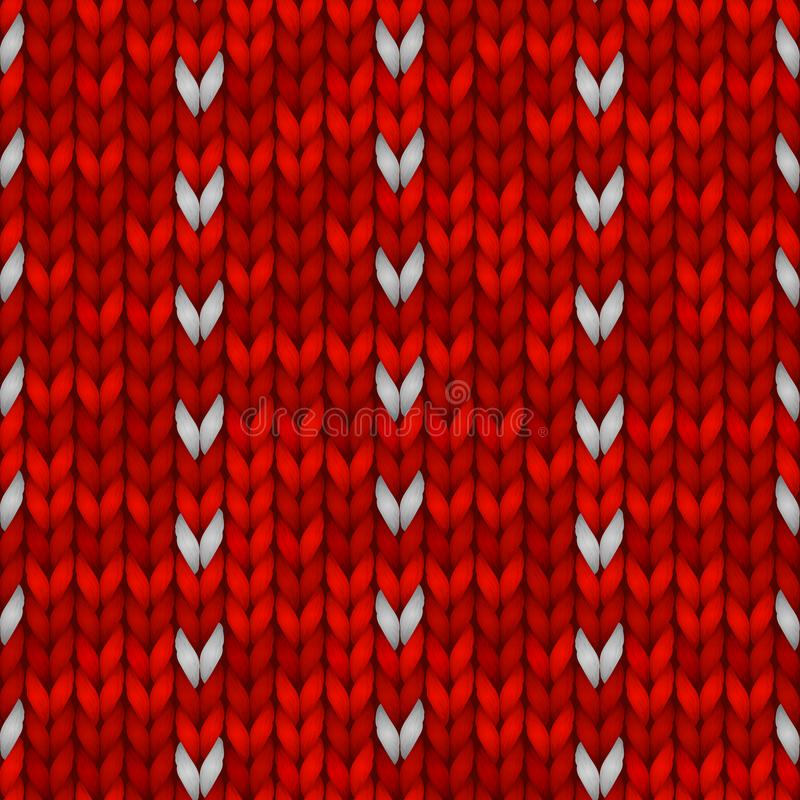 Картина зимнего отдыха безшовная вязать с снежинки Красный цвет связал дизайн свитера Иллюстрация вектора для иллюстрация вектора