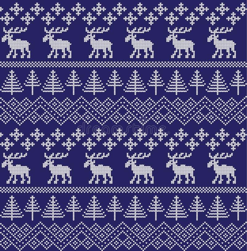 Картина зимнего отдыха безшовная вязать иллюстрация штока