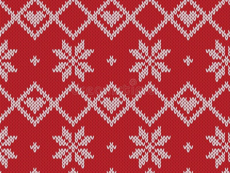Картина зимнего отдыха безшовная связанная Предпосылка вектора для веселого рождества и счастливого нового Yeary иллюстрация иллюстрация штока
