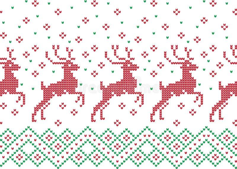 Картина зимнего отдыха вязать с рождественские елки Дизайн свитера рождества вязать Текстура связанная шерстями иллюстрация штока