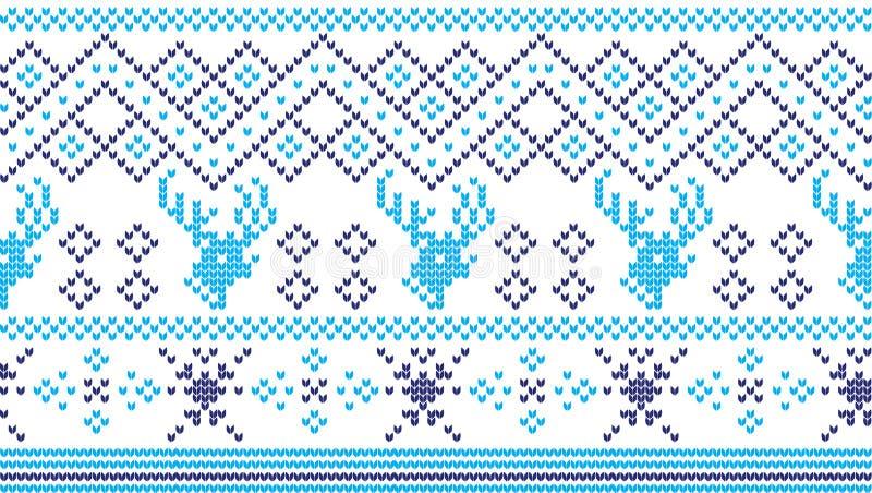 Картина зимнего отдыха вязать с рождественские елки Дизайн свитера рождества вязать Текстура связанная шерстями стоковая фотография