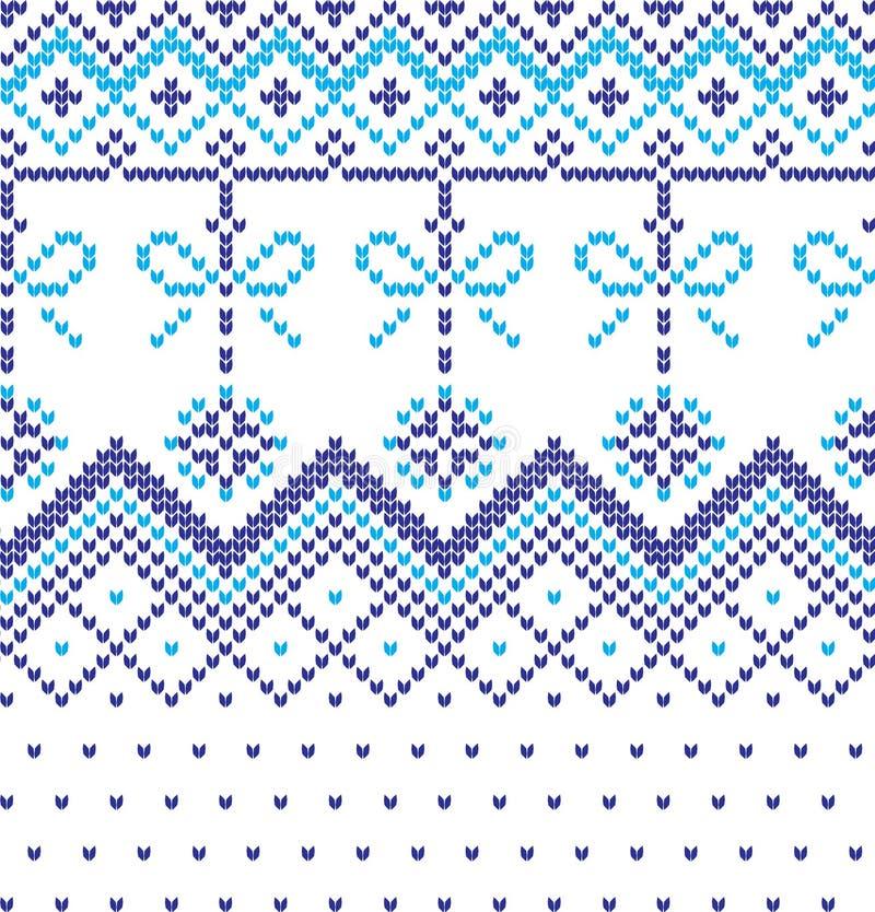Картина зимнего отдыха вязать с рождественские елки Дизайн свитера рождества вязать Текстура связанная шерстями стоковые фото