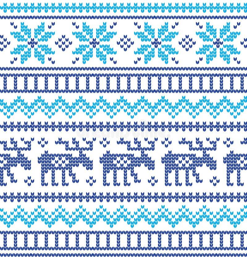 Картина зимнего отдыха вязать с рождественские елки Дизайн свитера рождества вязать Текстура связанная шерстями стоковые фотографии rf