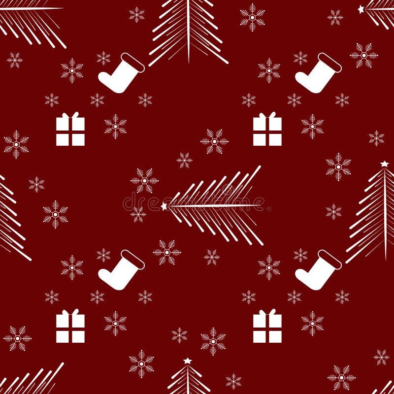 Картина зимних отдыхов рождества Нового Года безшовная с подарками, рождественской елкой и снежинкой иллюстрация штока