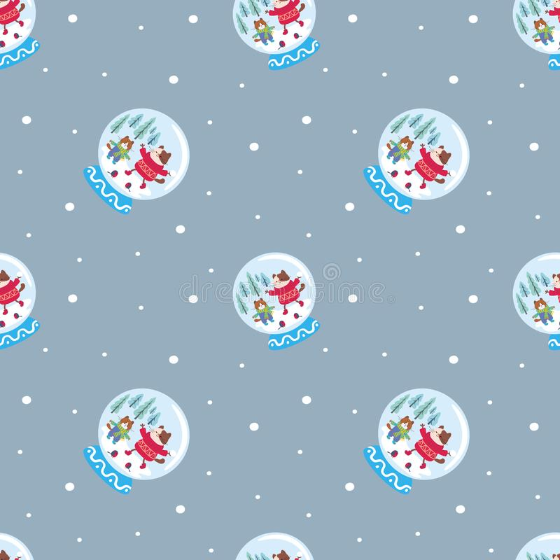 картина зимы безшовная с глобусами снега иллюстрация штока