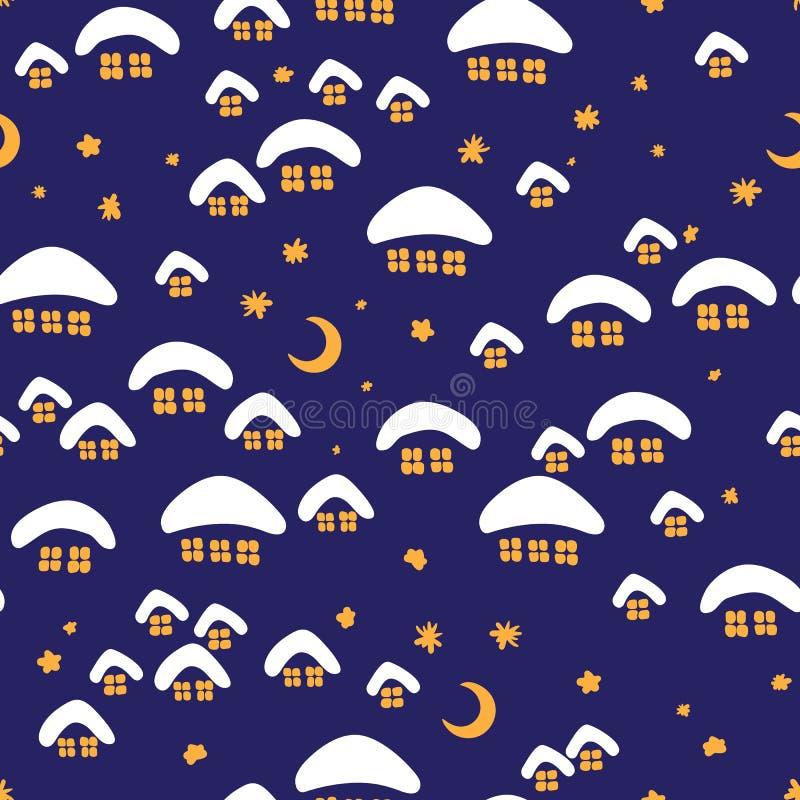 Картина зимы безшовная с деревней ночи стоковая фотография rf