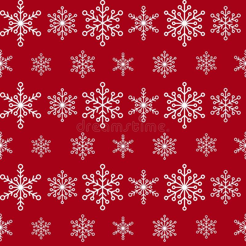 Картина зимы безшовная с линиями белых снежинок на красной предпосылке Фон Нового Года Рождество вектора плоское симметричное бесплатная иллюстрация