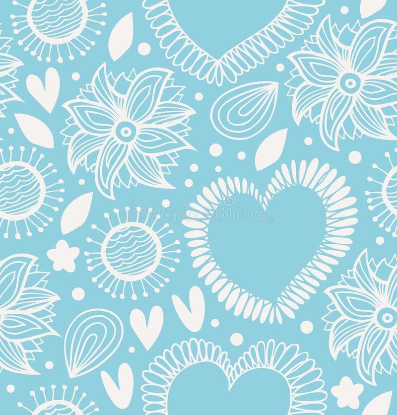 Картина зимы декоративная безшовная Милая предпосылка с сердцами и цветками Текстура ткани богато украшенная для обоев, печатей,  иллюстрация штока