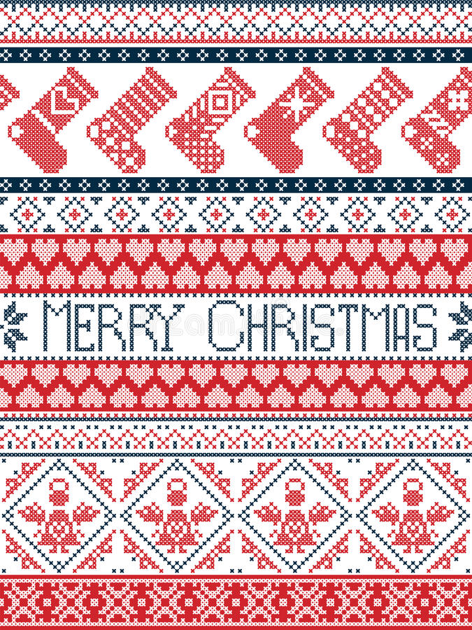 Картина зимы нордического стиля с Рождеством Христовым праздничная в перекрестном стежке с чулками, сердце, ангеле, декоративных  иллюстрация вектора