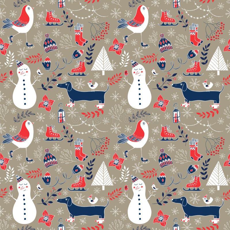Картина зимы рождества безшовная бесплатная иллюстрация