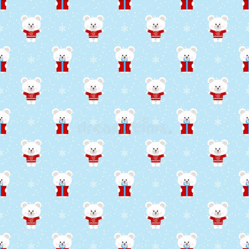 Картина зимы рождества вектора безшовная с милым приполюсным белым медведем с подарком, снежинками орнаментирует на предпосылке с иллюстрация штока