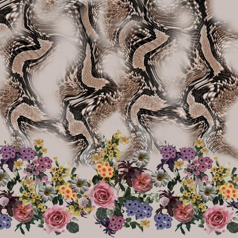 Картина змейки смешивания цветка безшовная стоковое фото rf