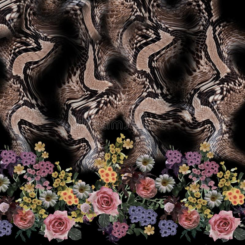 Картина змейки смешивания цветка безшовная стоковая фотография rf