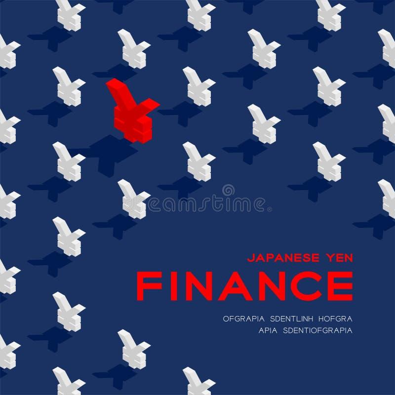 Картина знака 3d JPY иен валюты японская равновеликая, финансы дела плакат концепции и иллюстрация дизайна знамени квадратная иллюстрация штока