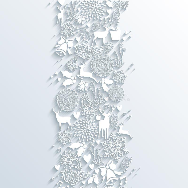 Картина знамени сезона 3d белого рождества безшовная бесплатная иллюстрация