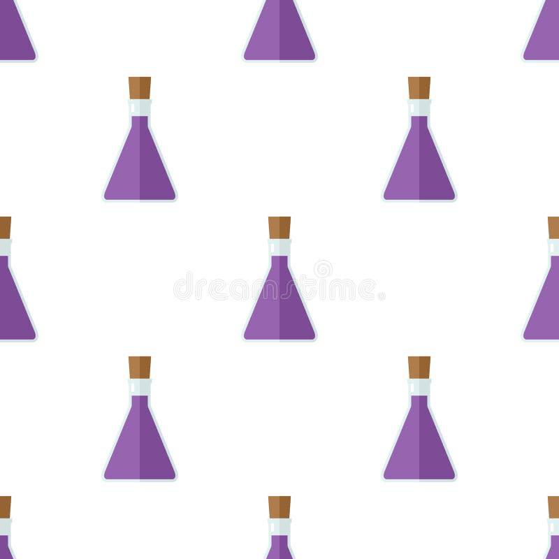 Картина значка бутылки волшебного зелья безшовная иллюстрация штока