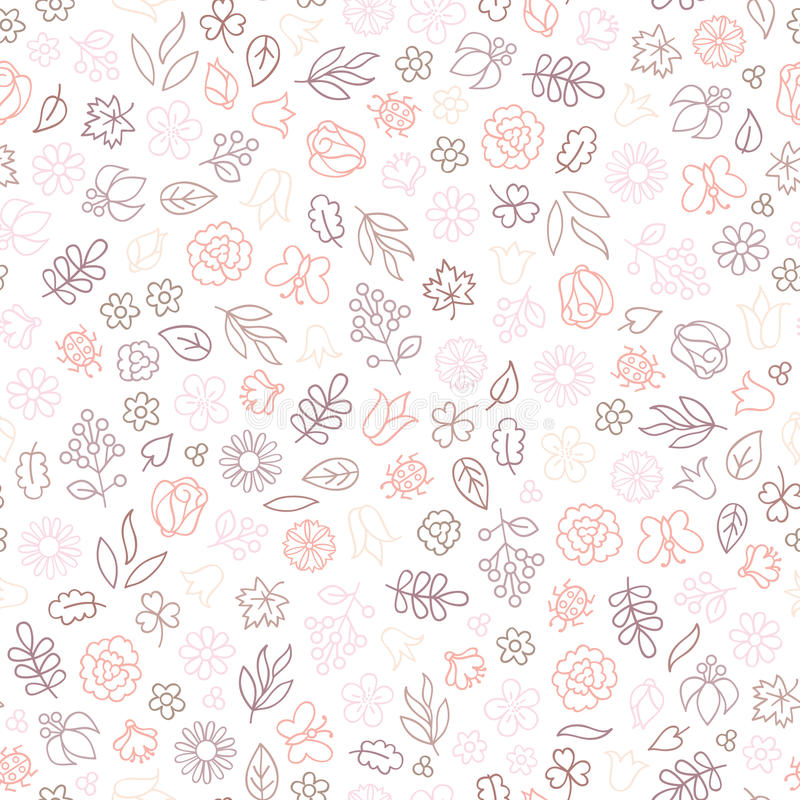 Картина значка цветка безшовная Флористические листья и цветки иллюстрация штока
